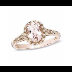 10k Rose Gold Clear Morganite Ring